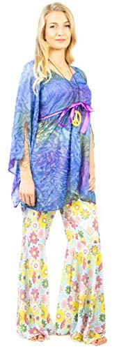 Nick and Ben Hippie Kostüm | 3-teilige Verkleidung für Karneval | Hose, Shirt und Halskette | farbenfroh Flower Power |: Größe: ()