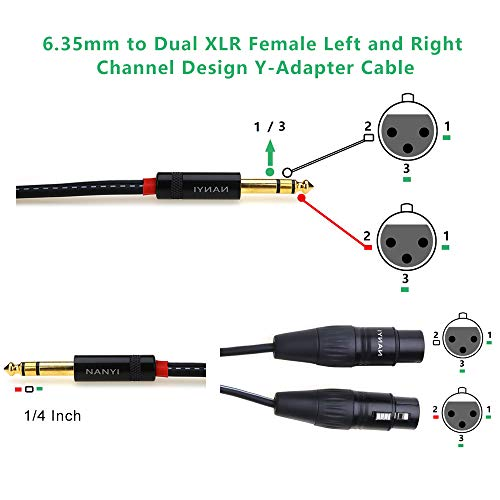 NANYI RCA Maschio a 2 cuffie audio RCA femmina RCA M-2xRCA F RCA M One-Two RCA F Stereo adattatore di interconnessione audio 2Pack