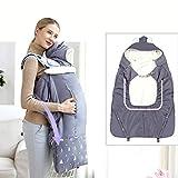 halonzhor Hands Free Baby Tragetasche, Winddichte Wärme, faltbar, Packable Coat Universal Hoodie Carrier Cover für Babytrage dunkelgrau Universal (Dunkelgrau)