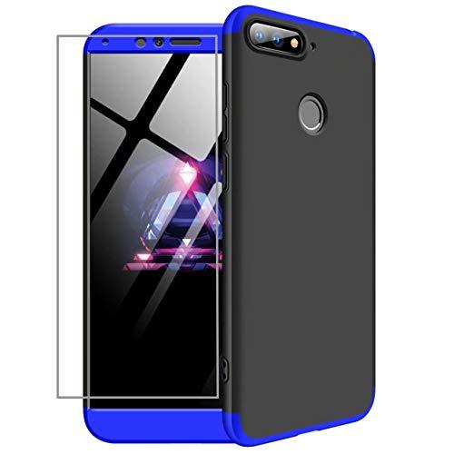 AILZH Huawei Honor 7A/Y6 2018/Enjoy 8E Hülle 360 Grad Schutzhülle HandyHülle PC Hartschale Anti-Schock Anti-Kratz Stoßfänger 360° Full-Cover Case Matte Schutzkasten+Gehärteter Glasfilm(Blau schwarz)