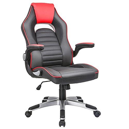 Gaming stuhl, IWMH Racing Hoch Rücken Schreibtischstuhl PU Kunstleder Bürostuhl mit armlehne,360°verstellbare Bürodrehstuhl Hohe Rückenlehne Ergonomische Stuhl mit Synchro-Kippen Mechanismus (Rot+Grau) (Bürostühle Mit Armlehnen)