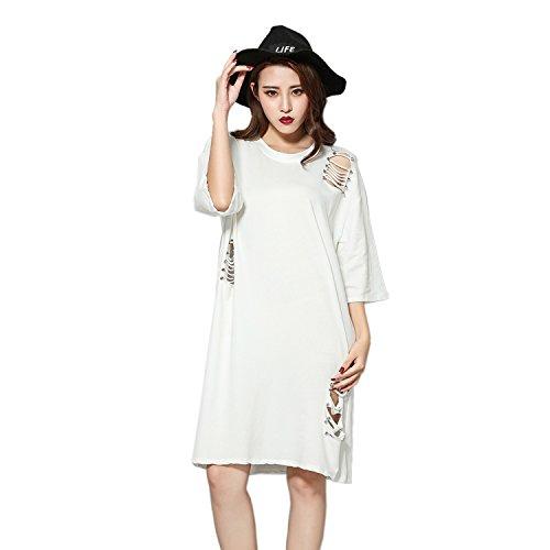 Dreamworldeu - Robe - Relaxed - Uni - Manches Courtes - Femme Large Blanc