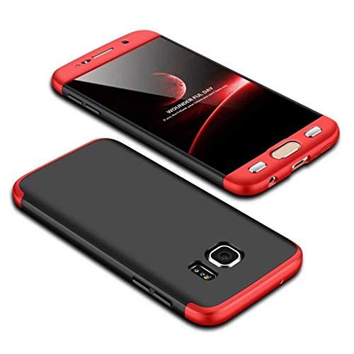 Homikon 360 Grad Hart PC Hülle 3 in 1 Komplettschutz Tasche Plastik Handyhülle mit Tempered Glas Panzerglas Ganzkörper-Koffer Schutzhülle Kompatibel mit Samsung Galaxy S6 Edge - Schwarz Rot -