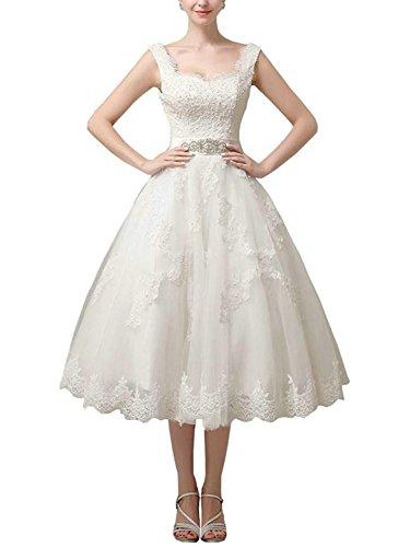 0085a8ff4472a0 *Brautkleid Hochzeitskleider Vintage Prinzessin Kurz Brautmode Tüll Spitze  A Linie Weiß EUR50