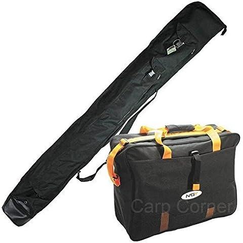 Una Partita Di Bagagli Pesca Set Deluxe Sacca Da Viaggio Di Rod E Nassa porta-pesci Carryall Tackle Bag NGT