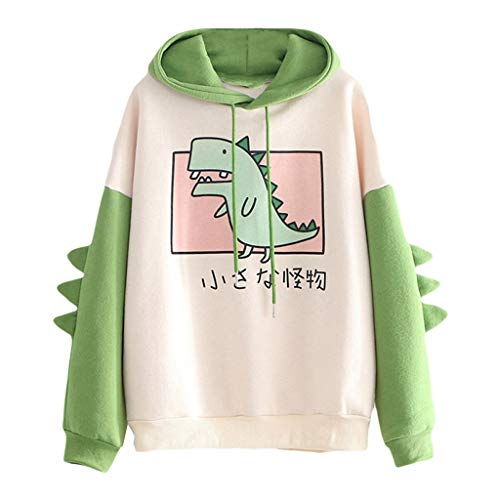 iHENGH Fashion Women Casual Print Long Sleeve Splice Dinosaur Sweatshirt Tops(Grün, L)