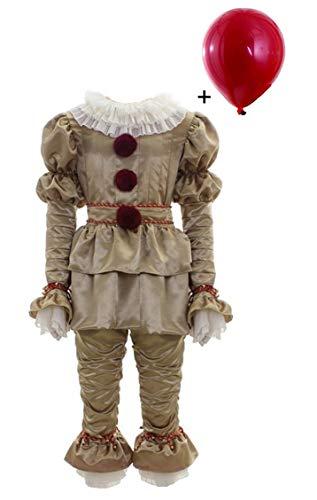 BIRDEU Halloween Clown Pennywise Cosplay Kostüm Deluxe Outfit Herren Full Suit mit Zubehör für Erwachsene Verrücktes Kleid - Pennywise Deluxe Für Erwachsene Herren Kostüm
