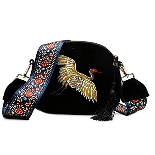 Mitlfuny handbemalte Ledertasche, Schultertasche, Geschenk, Handgefertigte Tasche,Damenmode Mini Umhängetasche Samt Quaste Clutch Bag Stickerei Handtasche - Sequin Platform Wedge