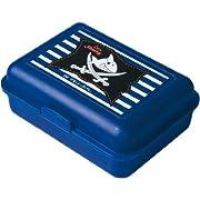 Un contenitore per alimenti in plastica blu, con divisorio rimovibile so 2alimenti possono essere separati.