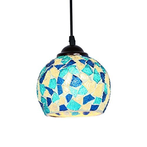 Baoblade Baoblaze Vintage Hanging Light Mosaic Design Pendant Ceiling Lampshade Stained Glass - 5#, as described
