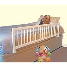 Safetots - amplia Barrera protectora de cama, madera, color Blanco