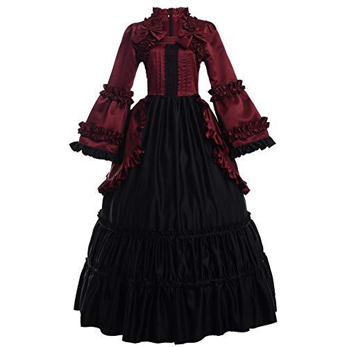 GRACEART Damen Langarm Renaissance Mittelalter Kleid Gothic Viktorianischen Königin Kleid Kostüm (L, ()