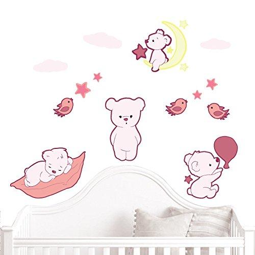 Preisvergleich Produktbild JUJU & COMPAGNIE - Jujubox Rosa Niedliche Teddybären 1 Wandstickers - Full Set von Kinder Wandaufkleber - Babyzimmer Wandtattoos - Maße 50 x 90 cm