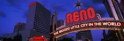 Panoramic Images - Low angle view of the Reno Arch at dusk Virginia Street Reno Nevada USA 2013 Photo Print (91,44 x 30,48 cm)