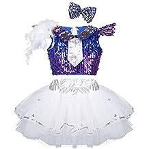 cace0c2e11551 iixpin Traje de Danza Jazz Ballet Niñas Disfraces Lentejuelas Brillantes  Crop Top + Falda Tutú +