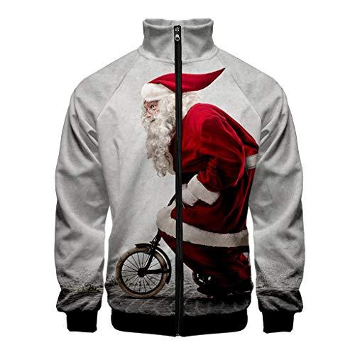 MAYOGO Jacke Herren Weihnachten 3D Fun Jacke Winterjacke Sweatjacke Full-Zip Sweatshirt Softshell Jacke mit Stehkragen