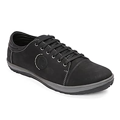 Red Chief Men's Black Leather Sneakers-10 UK/India (44 EU) (RC3552 001)