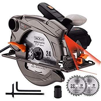 TACKLIFE 1500W 4700RPM Scie Circulaire, 2 Lames Ø185mm (40T&24T) et Compatible avec 190mm,...