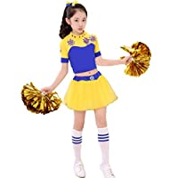 SMACO Competencia Infantil Cheerleaders Uniformes del Equipo Kid Performance Girl,Blue,170CM