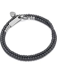 Italienisches Herren Armband aus Hematit Natur Steinen in dunkel grau. Luca Barra DBA899. Mit Edelstahl Verschluss