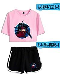Florwesr Tops y Shorts del Verano Pijamas de Cultivos Expuestos Traje + Cortos de Manga Corta Camiseta de Ombligo (Color : Set 23, Size : XS)