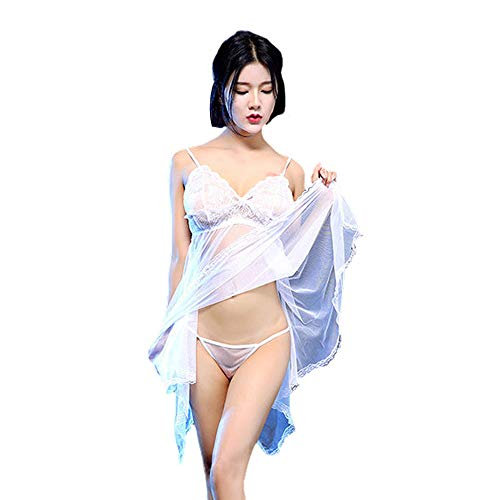 U.Expectating Frauen sexy rückenfreie Spitze transparent Nachthemd Unterwäsche erotischen Schlafanzug mit G-String (Einheitsgröße, Weiß)
