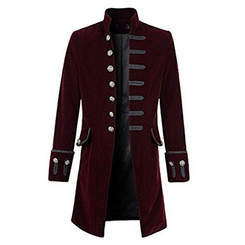 MIOIM Punk Jacke Steampunk Gothic Langarm Jacke Retro Mittellang Mantel Kostüm Cosplay Uniform für Männer Weinrot S (Männer Top Halloween-kostüme)