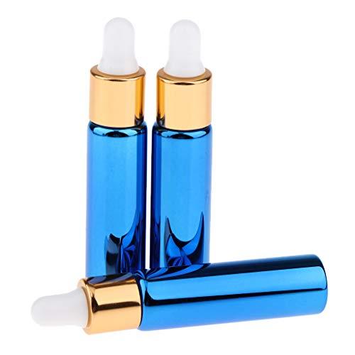 Baoblaze 3X 10ML Tropfflaschen Laborflasche mit Glaspipette für ätherische Öle - Blau