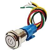 FLAMEER 16mm 220V Selbsthaltender LED Beleuchtet Schalter Drucktaster Druckschalter Druckknopf