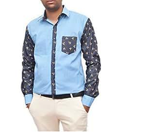 Ganar Men's Slim Fit Linen Casual Shirt (GC47_Light Blue_38)