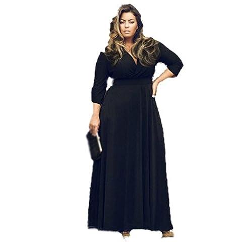 Plus Size Fashion couleur unie salopette jupe robe de soirée robe , black , 2xl