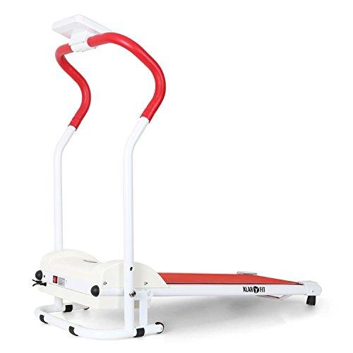 KLAR FIT Treado Basic Cinta de Correr • Pantalla LCD Monitor de Entrenamiento • Indicador Consumo calórico • Tiempo, Distancia y Velocidad • con Ruedas • Plegable • Rojo