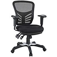 Modway Articulate Ergonomic 360-Degree Swivel Mesh Office Chair, L 26.5 x W 26 x H 37 Inch, Black