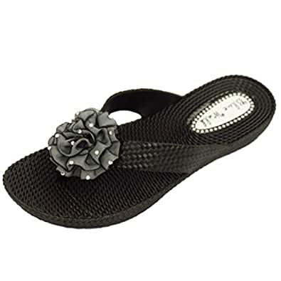 HeelzSoHigh Damen Flach Beige Zehensteg Riemen Sandalen Flip Flop Strand Blume Keilabsatz Schuhe Größen 3-8 - Beige, EU 38