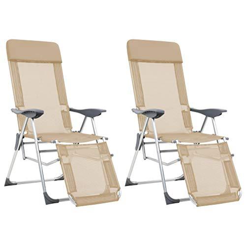 vidaXL 2X Chaise Camping Pliable Repose-Pied Crème Aluminium Fauteuil Jardin