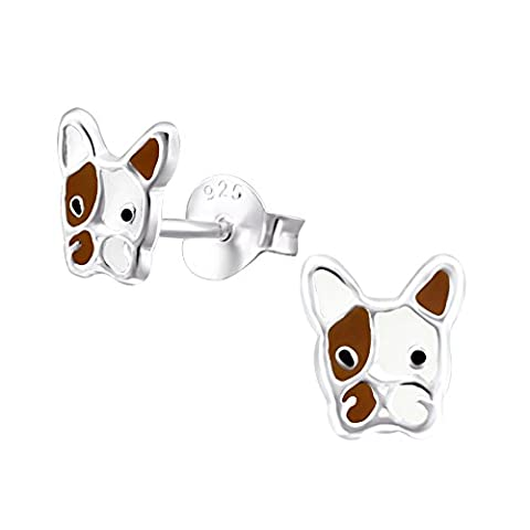 Dog Earrings - Sterling Silver - French Bulldog