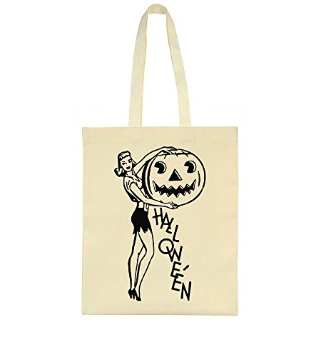 Halloween Girl Posing With Pumpkin Tote Bag Canvas Einkaufstasche - Girl Halloween Scary