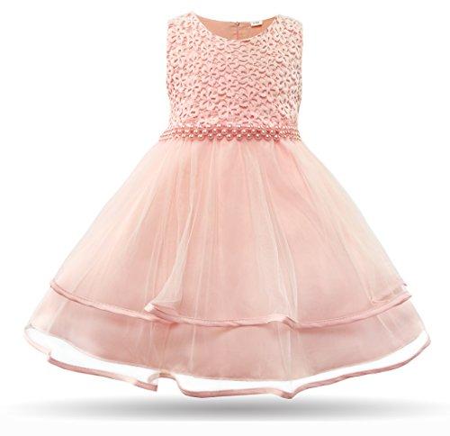 CIELARKO Baby Mädchen Kleid Blumen Spitze Tüll Taufkleid Kinder Hochzeits Festlich Kleider, Rosa, 4-6 Monate
