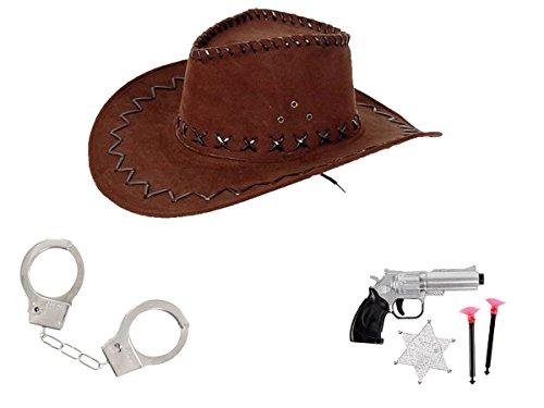 Kit de déguisement cowboy (KV-68) ensemble de 6 accessoires: Chapeau + Paire de menottes avec 2 clés + Un pistolet révolver avec deux fléchettes à ventouse et une étoile SHERIFF
