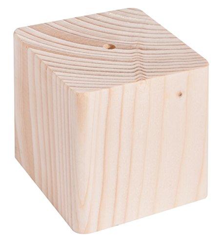 Rayher 62837000 Holz-Sockel massiv, 6,5x6,5x6,5 cm, mit Loch, Halterung für Sterne oder Kugeln am Stab, Holzblock aus Fichte, Holz-Würfel massiv, mit Loch für Metall- oder Holzstab