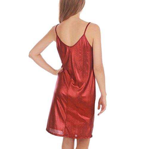 La Modeuse - Robe mi-longue à bretelles scintillante Rouge