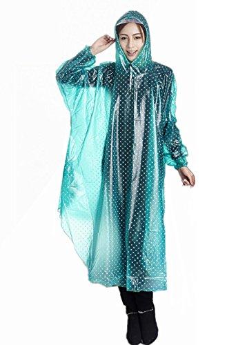 KENO Regenmantel Damen PVC Transparenter Regenjacken mit Kapuze wasserdicht Regenkleidung - grün