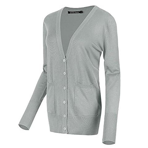 Damen Strickjacke Cardigan mit V-Ausschnitt (XL, Hellgrau)