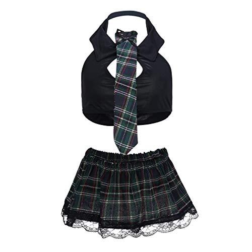 WINLISTING Vatertag Mode Sexy Frauen Dessous Uniform Weste Gitter Minirock Krawatte Set Clubwear Valentinstag (Schwarz, M) (Für Schlafzimmer Männer Kostüme)