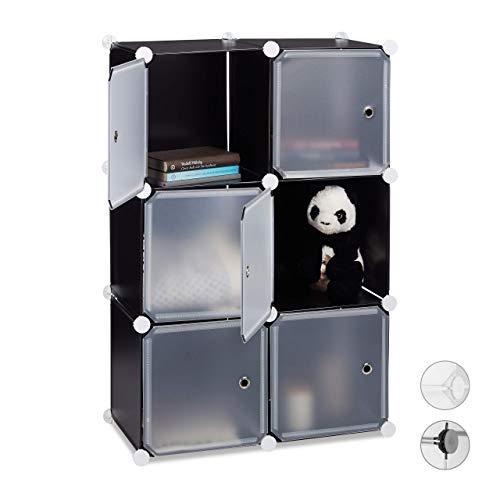 Relaxdays Regalsystem m. 6 Türen, DIY, Cubes, Grifföffnungen, Raumteiler, Badregal, Kunststoff, HBT 98x66x32 cm, schwarz