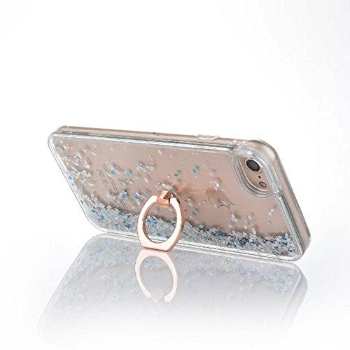 Flüssigkeit Handyhülle Für iPhone 7 Plus 5.5 Zoll,Herzzer Luxus Luxuriös Fließt Treibsand Durchsichtige Kristall Glänzend Glitzer Diamant Fließen Flüssig Flüssigkeit Plastik Handyhülle Tasche Crystal  Silber
