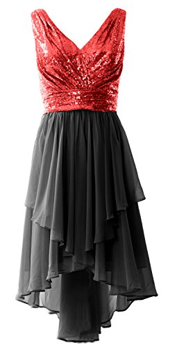 MACloth Women Straps V Neck Sequin Chiffon High Low Prom Dress Formal Party Gown Red-Black