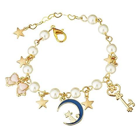Pearl Bracelet plaqué or Lune Chat Cœur étoile Bracelet à breloques pour femme 15,2cm