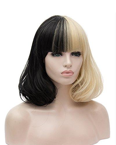 Tsnomore beliebte gemischte farbe schwarz und blonde, kurze party frauen perücke (Sehr Beliebte Kinder Kostüme)
