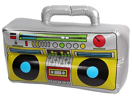 aufblasbar 80er Boom Box - Maße: 40 x 20 - Oldschool Hip Hop Rapper Kostüm Verkleidung Accessoire ()